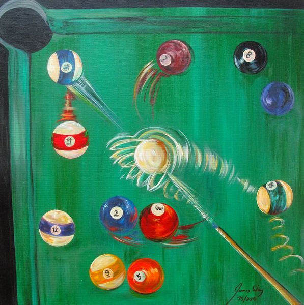 James Wing GREEN BILLIARDS Hand Signed Limited Ed. Giclee on Canvas