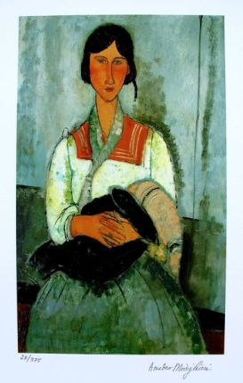 "Amedeo Modigliani ""GYPSY WOMAN WITH CHILD"" Facsimile Signed Limited Ed. Small Giclee"