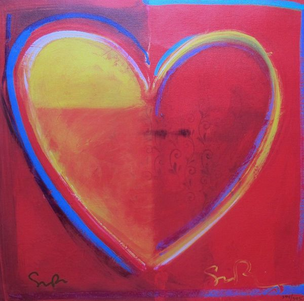 "SIMON BULL ""HEART"" Hand Signed Giclee on Canvas"