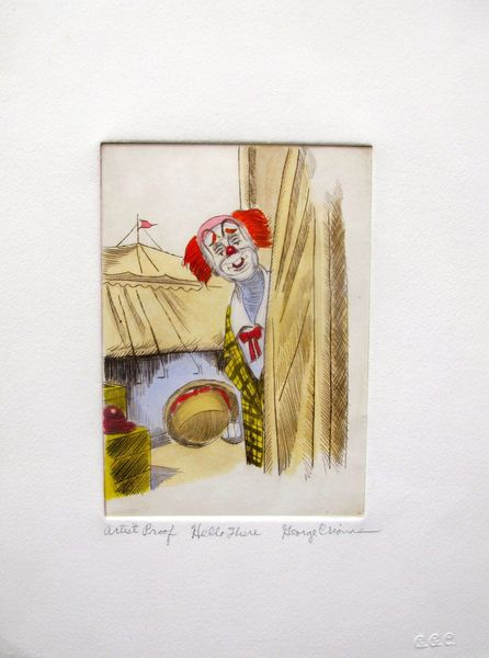 "GEORGE CRIONAS ""HELLO THERE"" Hand Signed Limited Edition Color Etching CLOWN"