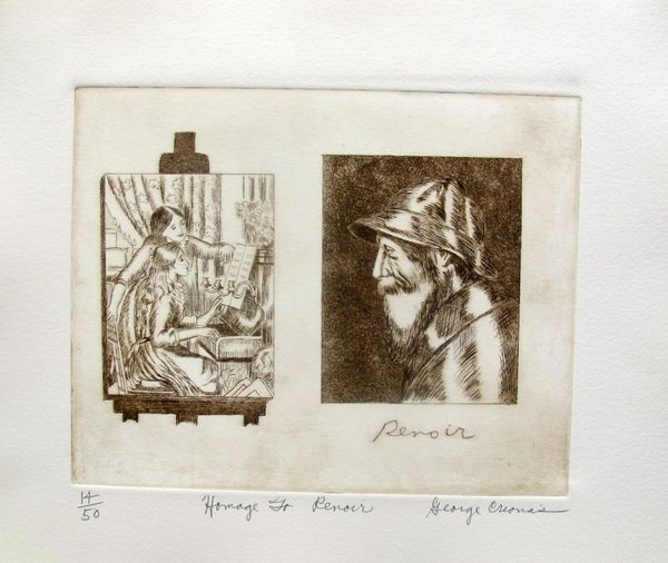 "GEORGE CRIONAS ""HOMAGE TO RENOIR"" Hand Signed Limited Edition Etching"