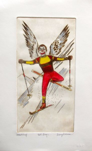 "GEORGE CRIONAS ""HOT DOG"" Hand Signed Limited Edition Color Etching CLOWN SKIING"