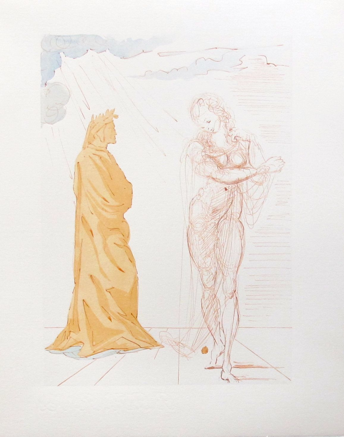 Salvador Dali 1960 DIVINE COMEDY INFERNO #2 Color Woodcut Wood Block Engraving
