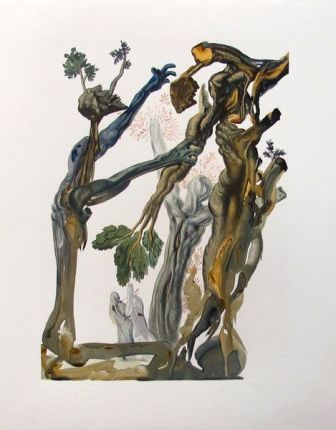 Salvador Dali 1960 DIVINE COMEDY INFERNO #13 Color Woodcut Wood Block Engraving