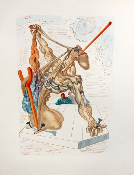 Salvador Dali 1960 DIVINE COMEDY INFERNO #29 Color Woodcut Wood Block Engraving