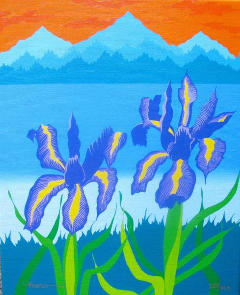 "LARISSA HOLT ""IRIS LAKE"" Hand Signed Giclee Canvas EYVIND EARLE PROTEGE"