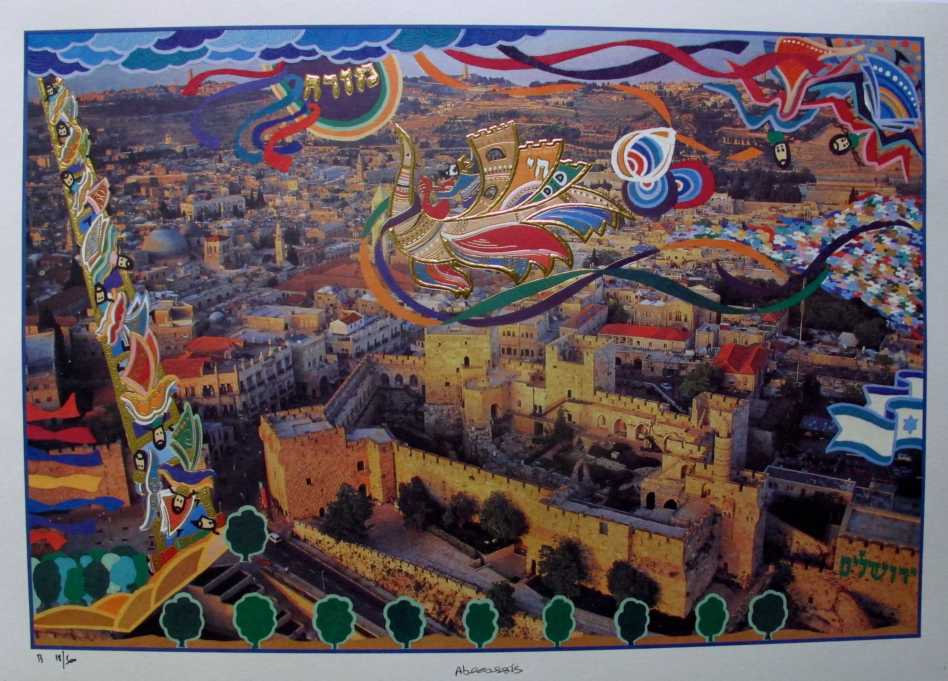 Raphael Abecassis PEACE IN JERUSALEM Hand Signed Mixed Media with Gold Accents