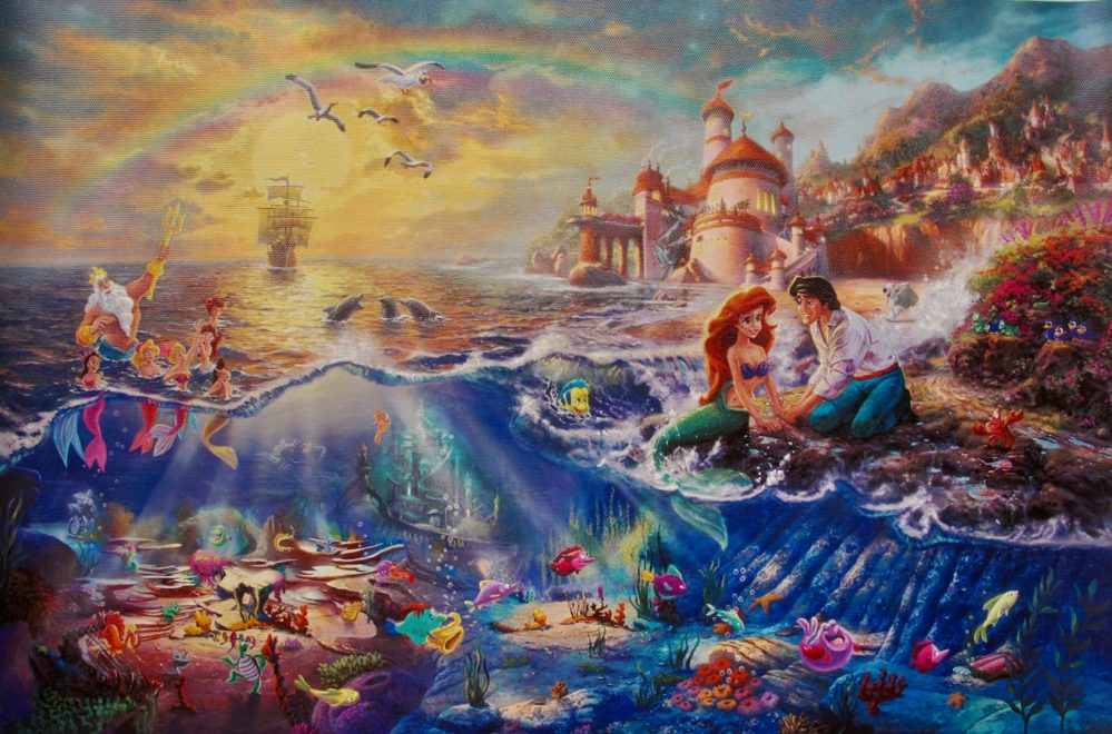 THOMAS KINKADE Ariel The Little Mermaid Giclee on Canvas
