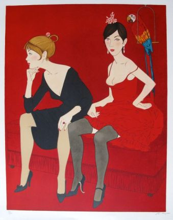 Philippe Noyer LADIES IN RED Hand Signed Limited Edition Lithograph