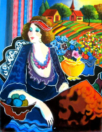 Patricia Govezensky LADY BY THE MEADOW Hand Signed Serigraph