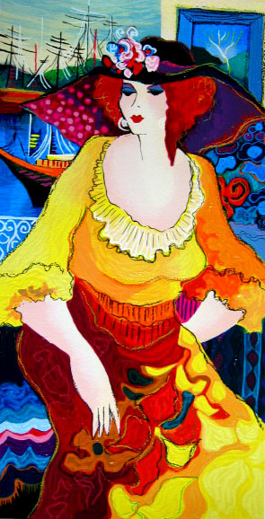 Patricia Govezensky LADY IN YELLOW DRESS Hand Signed Serigraph