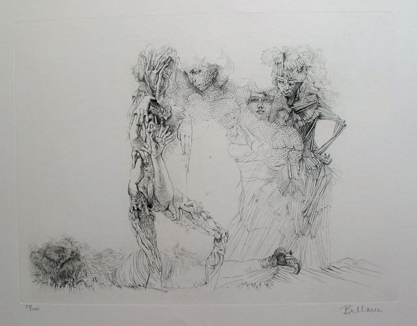 Hans Bellmer LES QUATRE FILLES Hand Signed Limited Ed. Etching