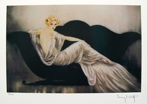 Louis Icart LOVESEAT Facsimile Signed Limited Edition Giclee Small