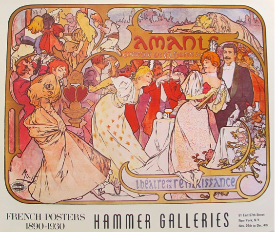 "Hammer Galleries FRENCH POSTER Art Print 1890-1930 ""Amants Comedie de Madonna"""