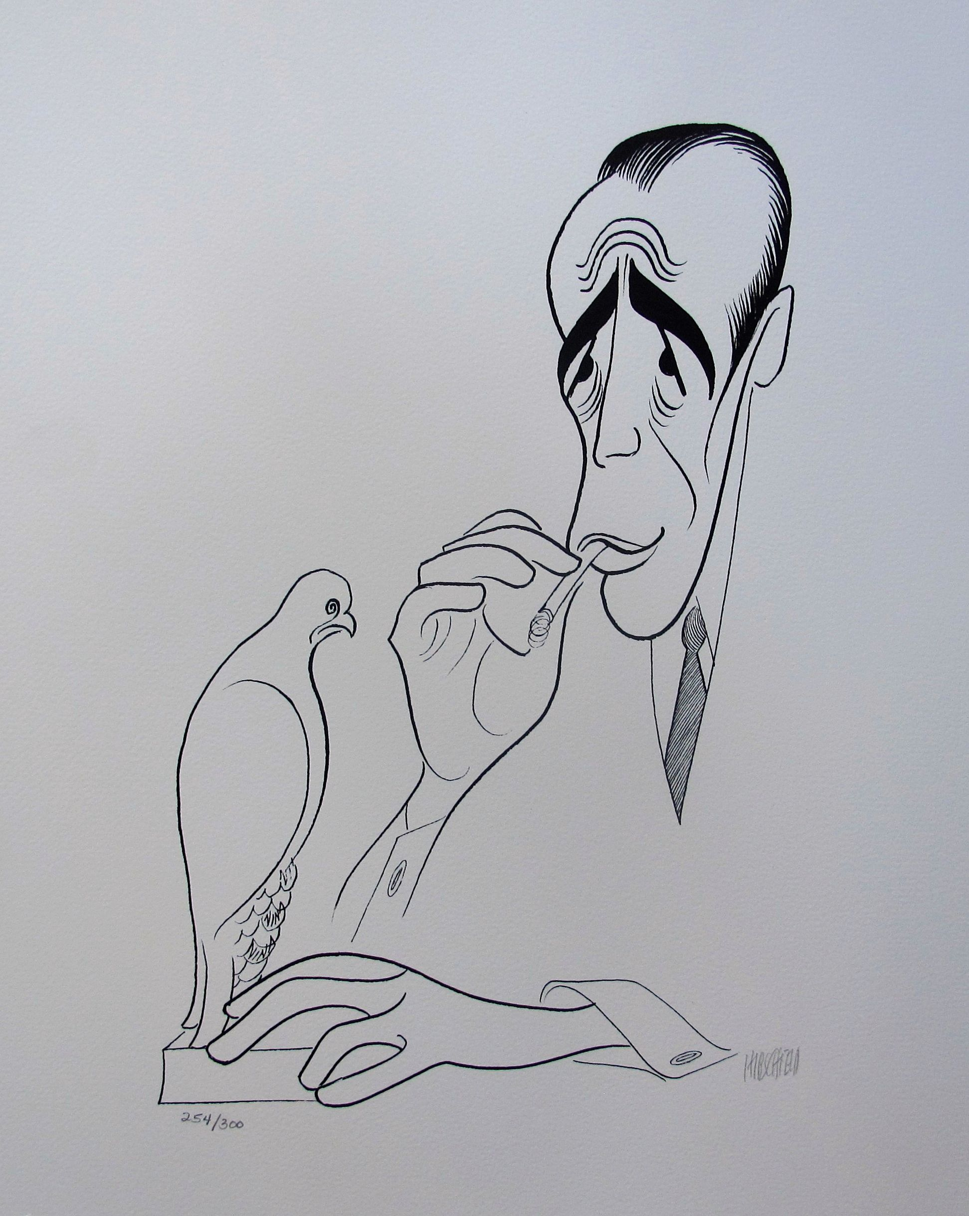 AL HIRSCHFELD THE MALTESE FALCON Hand Signed Ltd Ed. Lithograph HUMPHREY BOGART