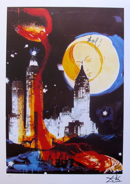 Salvador Dali MANHATTAN SKYLINE Limited Edition Facsimile Signed Lithograph