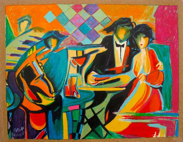 Philip Maxwell THE JAZZ CLUB Limited Edition Hand Signed Serigraph on Canvas