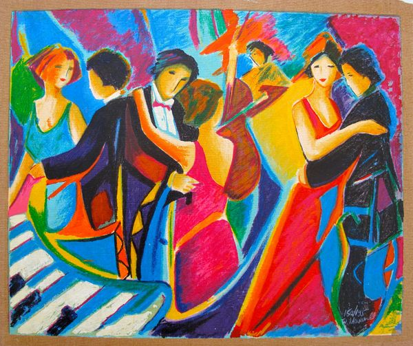 Philip Maxwell THE TANGO CLUB Limited Edition Hand Signed Serigraph on Canvas