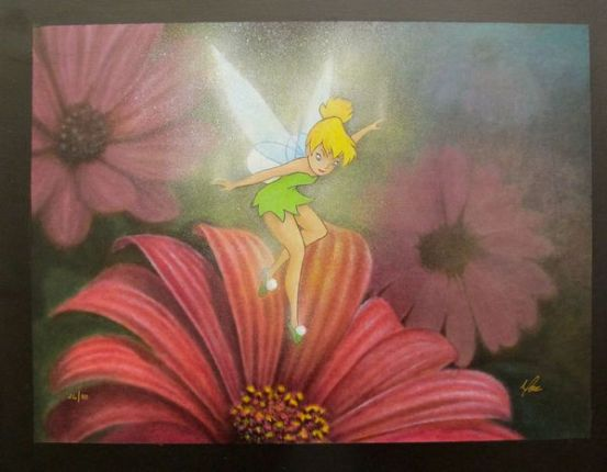 "Mike Kupka ""MORNING BLOSSOMS"" TINKERBELL Hand Signed Giclee on Canvas"