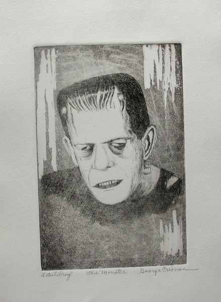 "GEORGE CRIONAS ""THE MONSTER"" Hand Signed Ltd Edition Etching FRANKENSTEIN"