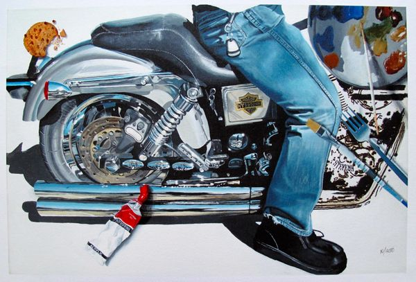 Roderick Stevens MOTORCYCLE DENIM Hand Signed Limited Edition Giclee on Canvas