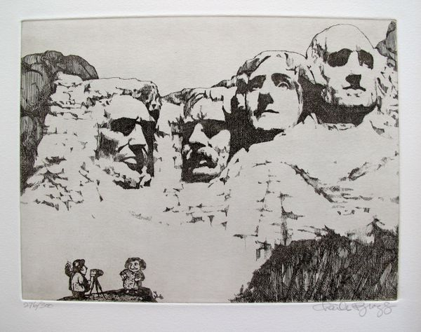 Charles Bragg MOUNT RUSHMORE Hand Signed Limited Ed. Etching