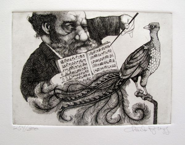 Charles Bragg MUSIC LESSON Hand Signed Limited Ed. Etching