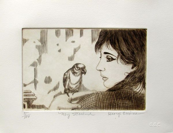 "GEORGE CRIONAS ""MY FRIEND"" Hand Signed Limited Edition Etching PARROT"