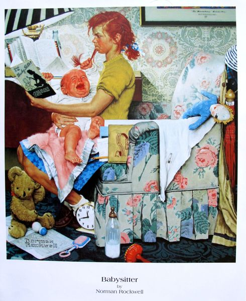 Norman Rockwell BABYSITTER Saturday Evening Post November 1947 Lithograph