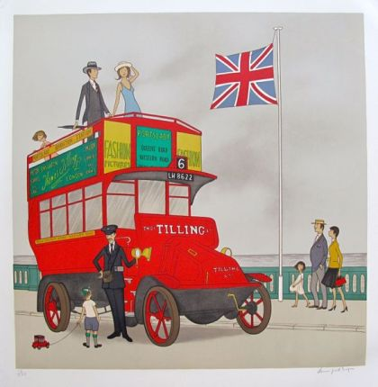 Denis Paul Noyer TILLING BUS Hand Signed Limited Edition Lithograph