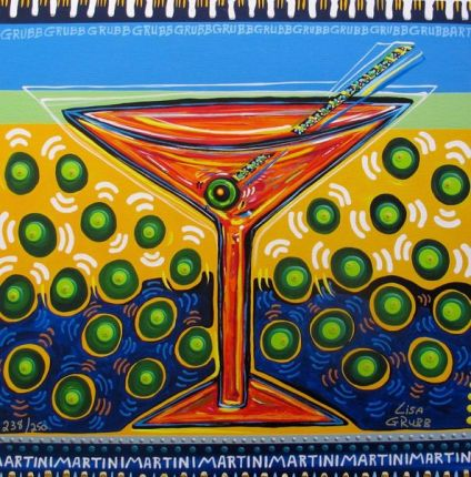 "LISA GRUBB ""OLIVE MARTINI"" Hand Signed Limited Edition Giclee on Canvas"