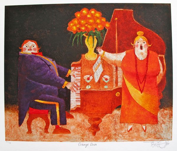 Toni Goffe ORANGE DIVA Hand Signed Limited Edition Giclee