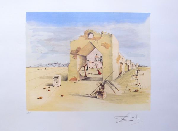 Salvador Dali PARANOIC VILLAGE Limited Edition Facsimile Signed Lithograph