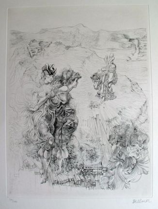 Hans Bellmer PAYSAGE 1900 Hand Signed Limited Ed. Etching