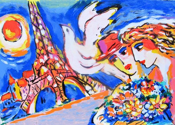 "ZAMY STEYNOVITZ ""PEACE & ROMANCE AT THE EIFFEL TOWER"" Limited Edition Serigraph"