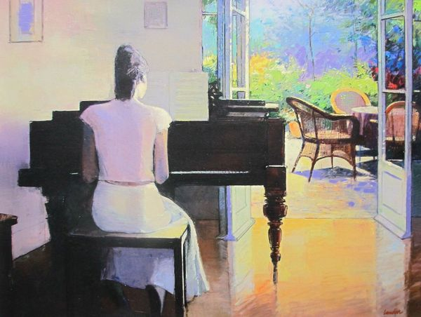 "CHRISTIAN LANDIER ""PIANO ROOM"" Hand Signed Limited Edition Giclee on Canvas"
