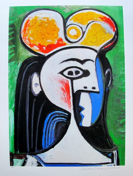 #130 GIRL WITH BLACK HAIR AND YELLOW HAT Pablo Picasso Estate Signed Giclee