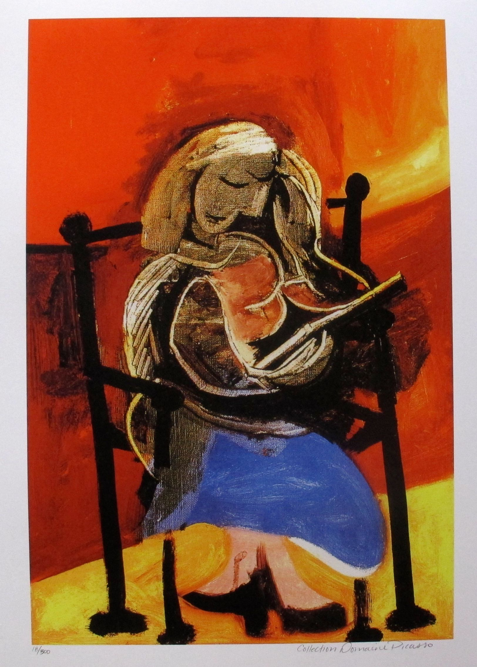 """SEATED WOMAN READING Pablo Picasso Estate Signed Giclee $299.99 $99.99 This is a PABLO PICASSO (ESTATE COLLECTION DOMAINE) (1881-1973) giclee titled """"SEATED WOMAN READING"""". Category: PICASSO, Pablo #81-151. Tags: Fine Art, Giclee, Pablo Picasso."""