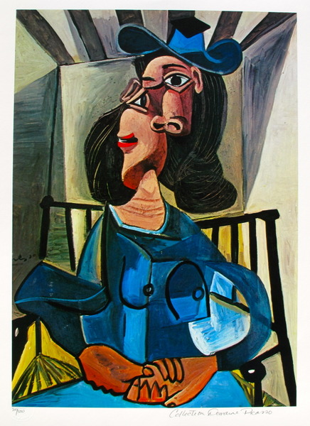 #15 WOMAN WITH A HAT SEATED IN AN ARMCHAIR Pablo Picasso Estate Signed Giclee