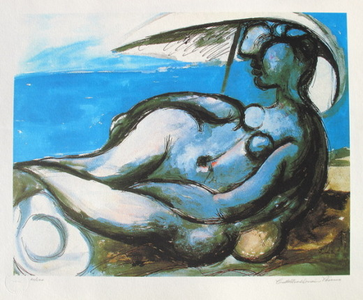 #05 RECLINING NUDE AT BEACH Pablo Picasso Estate Signed Giclee