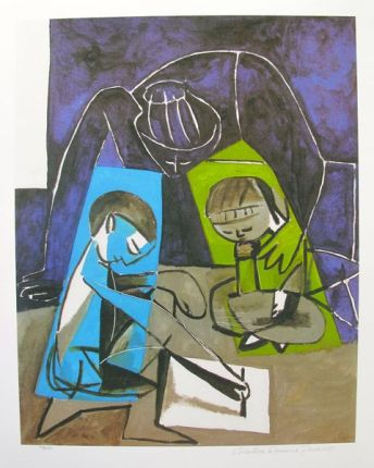 #091 CHILDREN WRITING Pablo Picasso Estate Signed Giclee
