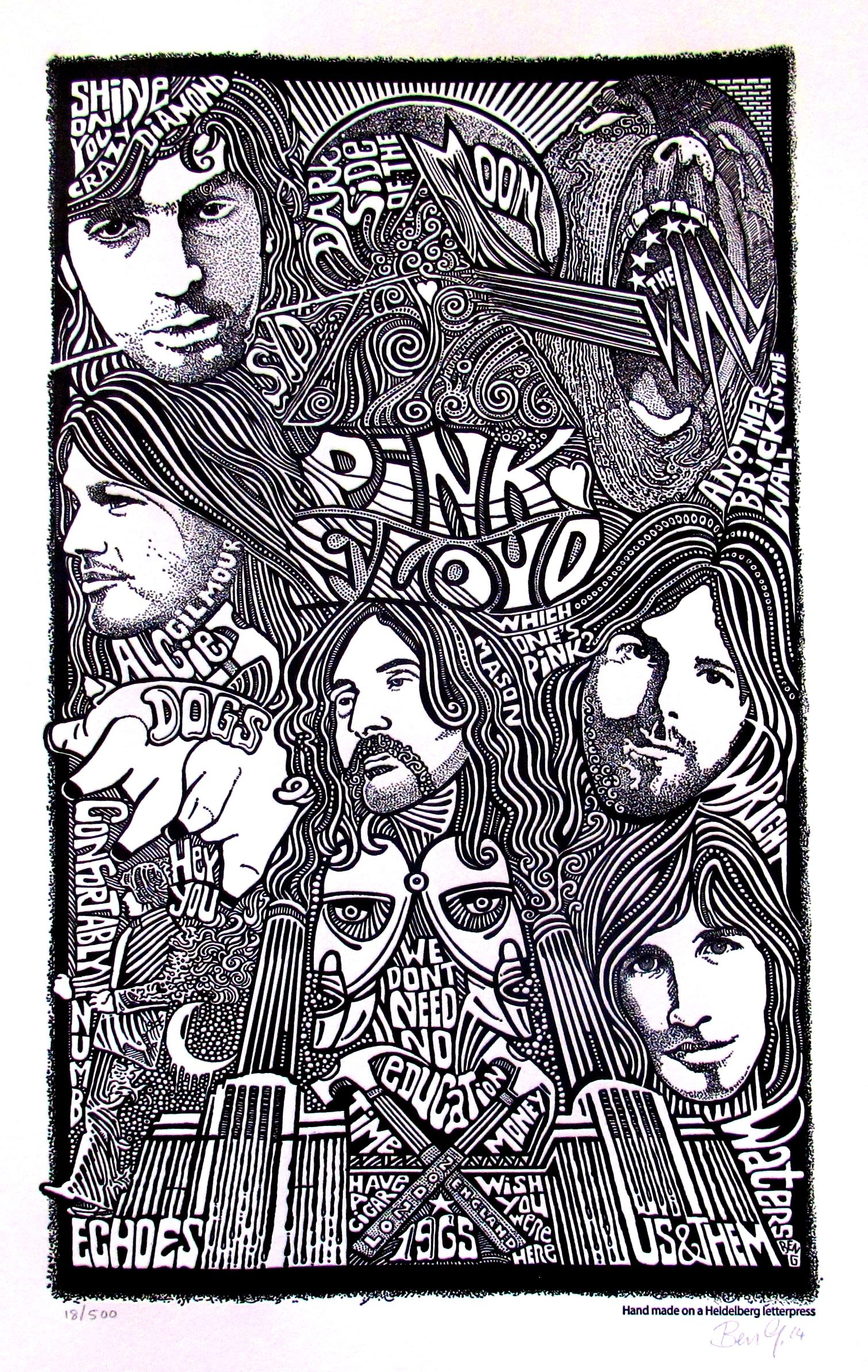 PINK FLOYD Psychedelic Hand Signed Posterography Letterpress ART