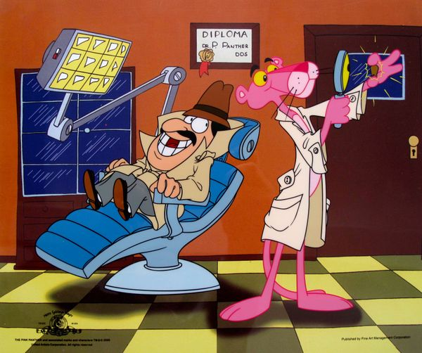 PINK PANTHER INSPECTOR CLOSEAU DENTIST Animation Art Sericel