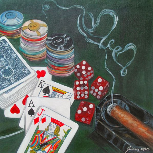James Wing POKER HAND Hand Signed Limited Ed. Giclee on Canvas