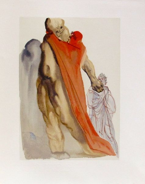 Salvador Dali 1960 DIVINE COMEDY PURGATORY #5 Color Woodcut Wood Block Engraving