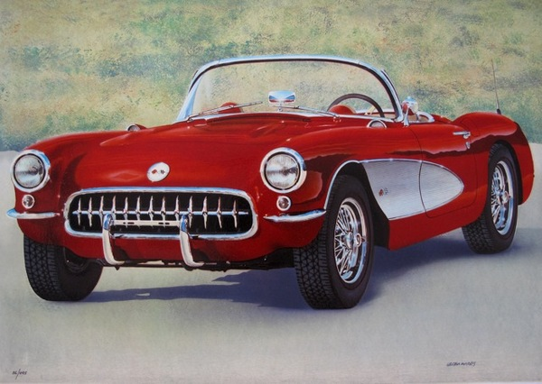 Valter Morais RED FIFTIES CORVETTE Hand Signed Limited Edition Serigraph