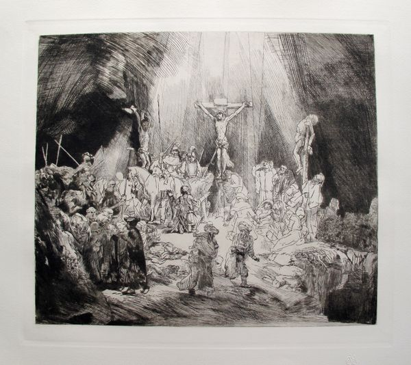 Rembrandt CHRIST CRUCIFIED BETWEEN THE TWO THIEVES Etching
