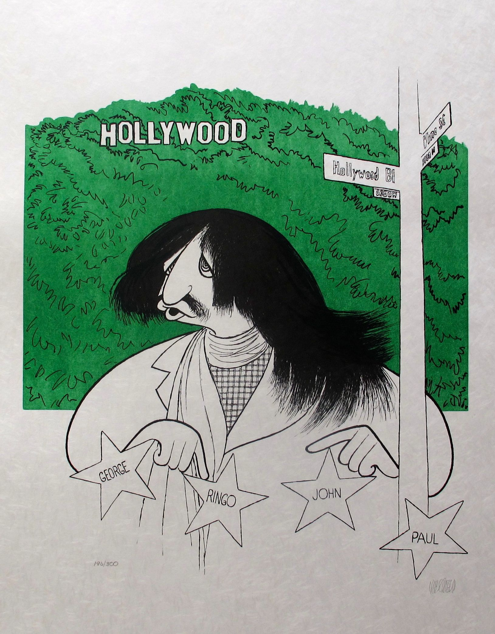 "AL HIRSCHFELD ""RINGO STAR"" Hand Signed Limited Edition Lithograph THE BEATLES"
