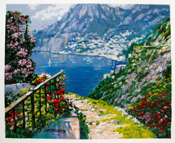 Howard Behrens ROAD TO POSITANO Limited Ed. Hand Signed Serigraph