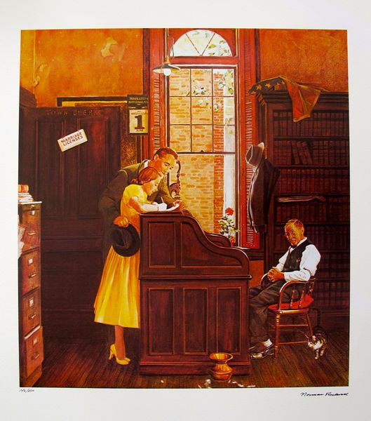 NORMAN ROCKWELL Original 1978 Hand Signed Lithograph MARRIAGE LICENSE